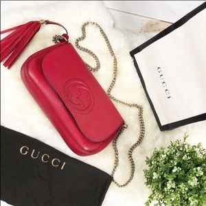 Gucci Soho Red Chain Crossbody Bag